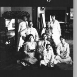 14.The whole Soong family were together in Shanghai in 1917 for the first time in a decade. From left: seated on the floor: Ei-ling, T.V., T.A., Ching-ling; seated: Charlie and Mrs Soong; standing: T.L., May-ling.