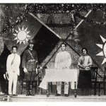 Moscow set up the Whampoa military academy for Sun. Ching-ling, Mme Sun Yat-sen since 1915, was at its founding ceremony in June 1924. On stage, from left: Liao Zhong-kai, Sun's closest aide, Chiang Kai-shek, head of the academy (and later May-ling's husband), Sun, Ching-ling.