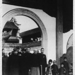 A downcast Chiang Kai-shek visiting his ancestral temple for the last time before leaving Mainland China in 1949, with his son and heir, Ching-kuo (front in hat). May-ling was not with her husband in those last days.