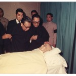 Ching-kuo stroking the forehead of his deceased father, Chiang Kai-shek, Taiwan, 1975. He was about to change his father's legacy and lead Taiwan towards democracy.