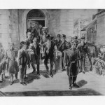 6.Sun Yat-sen's detention in the Chinese Legation in London in 1896 created an international incident, raised his profile and helped make him the 'Father of China'. In this British newspaper sketch, Sun is shown (centre, with coat on his arm) being released with a police escort. He is taking the arm of Dr Cantlie, his former teacher who rescued him.