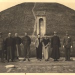 Chiang Kai-shek (second from right) and May-ling (next to him), sightseeing near Xian, in front of the Tomb of King Wu (first king of Zhou dynasty, 1046 – 1043 BC), late October 1936. The Young Marshal Zhang Xue-liang (centre, with puttee, smiling), was their host. Scarcely a month later, he launched a coup against Chiang and detained him. General Yang Hu-cheng, his co-conspirator, is on the far right, standing to attention.