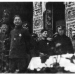 Mikhail Borodin (far right),  steered both the Nationalists and the Communists in 1923-27.  He was in Canton, 1925, with Chiang Kai-shek (next to him), soon to become the Nationalists' leader, and Wang Ching-wei (front), Mao's patron in the Nationalist Party, and later head of the Japanese puppet government.