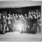 Mao (seated, second from left), with Red Army officers, including Zhu De (seated, third from left) and  Mao's closest crony, Lin Biao (seated, fourth from left), Yenan, 1937.