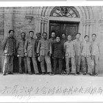 "Mao was in the minority in the Politburo over his ""don't fight Japan"" policy, but reversed his political fortunes by scheming in autumn 1938, when the Politburo gathered in Yenan, here seen in front of the Spanish Franciscan cathedral. From left: Mao, Peng Dehuai, Wang Jiaxiang, Lo Fu, Zhu De, Po Ku (who tried to leave Mao behind on the Long March), Wang Ming, Kang Sheng, Xiang Ying, Liu Shao-ch'i, Chen Yun, Chou En-lai."