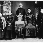 My mother (left) with her mother and stepfather, Dr Xia; Jinzhou, c. 1939.  Standing Centre is Dr Xia's second son, De-gui, the only member of his family who approved of Dr Xia's marriage to my grandmother.  Dr Xia's eldest son shot himself in protest. Standing far right is De-gui's son.