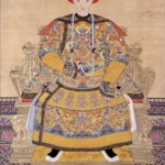 Emperor Xianfeng, a standard portrait of  a monarch produced after his death.  Xianfeng died in 1860 in self-imposed exile partly because the Old Summer Palace had been burned down by the British.
