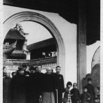 A downcast Chiang Kai-shek visiting his ancestral temple for the last time before leaving Mainland China in 1949, with his son and heir, Ching-kuo (to left in hat).
