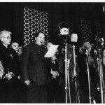 Mao proclaiming the founding of Communist China from the top of Tiananmen Gate, 1 October 1949.