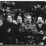 Looking grim, next to his patron and rival, Stalin, at the ceremony for Stalin's seventieth birthday, Moscow, December 1949.  To Stalin's left is East Germany's leader Walter Ulbricht, to whom Mao suggested buiding a wall; Mongolia's Tsedenbal far right; Soviet Marshal Bulganin in the centre (rear).  Behind Mao's right shoulder is his interpreter Shia Zhe, who provided us with much valuable information about Mao's relationship with Stalin.