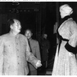 "A blonde dummy catches Mao's eye at a Japanese exhibition in Peking in 1956.  Mao was not here to check out fashion for Chinese women, who were restricted mostly to ""Mao suits,""  but to court the Japanese for strategic goods for his Superpower Programme."