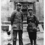 Mao with his third wife, Guiyuan, in Yenan, 1937.  She soon left him and went to Russia. She lived the rest of her life in an out of mental breakdowns.