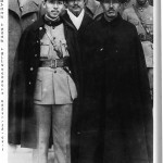 "Generalissimo Chiang Kai-shek (front right) with Chang Hsueh-liang (""the Young Marshal""), the former warlord of Manchuria, who kidnapped Chiang at Xian in December 1936.  The kidnap, which was co-ordinated by Mao, dealt the marginalised Reds back into the game.  Behind them stands Chiang Kai-shek's brother-in-law and confidant H.H. Kung"
